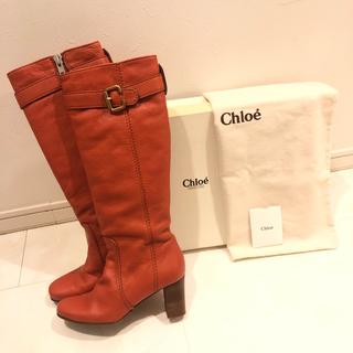 クロエ(Chloe)の美品 クロエ Chloe レザー ロングブーツ オレンジ キャメル 23cm (ブーツ)