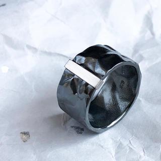 Oxidized silver platinum bar ring R(リング(指輪))