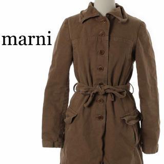 marni ステンカラー コート コットン ブラウン キャメル ベルテッド