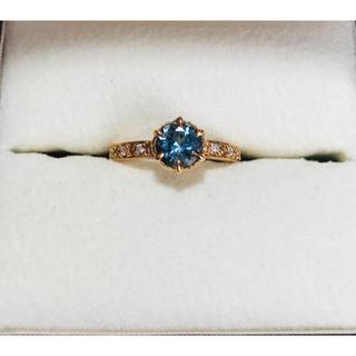 K18 アクアマリン×天然ダイヤモンドリング ピンクゴールド 指輪(リング(指輪))