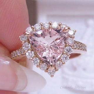 K18PG天然モルガナイト★トリリアントのお姫様リング(リング(指輪))