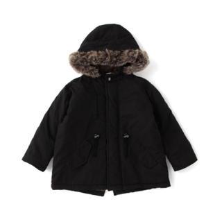 プティマイン(petit main)のb・ROOM ミドル丈フーデッドコート ブラック 130cm(ジャケット/上着)