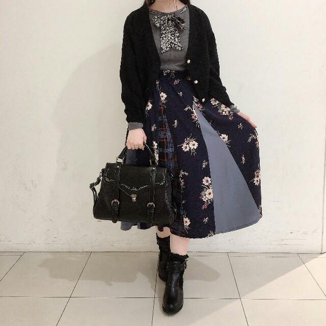 axes femme(アクシーズファム)の柄切替スカート(コン) レディースのスカート(ひざ丈スカート)の商品写真