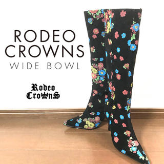 ロデオクラウンズ(RODEO CROWNS)の【処分価格】rodeo crownsロデオクラウンズ 花柄スエードブーツ(ブーツ)