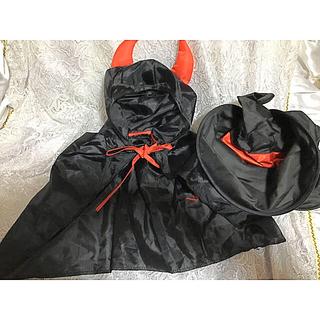 キッズ ジュニア ハロウィン デビル マント 小悪魔 ケープ ハット 帽子 黒(衣装一式)