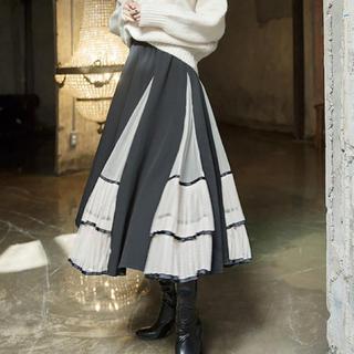 フェリシモ(FELISSIMO)の新作❤チュールフリルスカート 透け感 グレー セクシーキュート 変形(ロングスカート)
