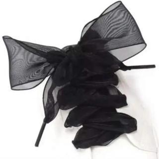 新品!リボン 靴紐 オーガンジー シューレース ブラック 黒(その他)
