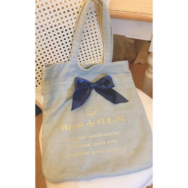 Maison de FLEUR(メゾンドフルール)のメゾンドフルール リボンバッグ デニム レディースのバッグ(トートバッグ)の商品写真