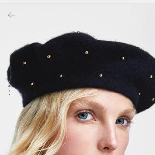 ザラ(ZARA)のZARA パンチングメタル ベレー帽 グレー ザラ(ハンチング/ベレー帽)