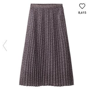 ジーユー(GU)のジーユー プリーツミディスカート プリーツ スカート ミディスカート 花柄 GU(ロングスカート)