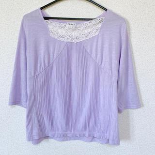 七分袖 カットソー パープル 紫(カットソー(長袖/七分))