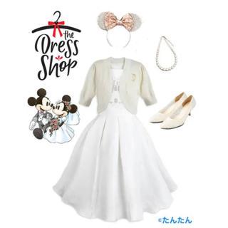 ディズニー(Disney)のファンタジーランドキャッスルホワイトドレス ドレスショップ(ひざ丈ワンピース)