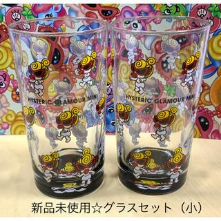 ヒステリックミニ(HYSTERIC MINI)のヒスミニ☆正規品☆新品☆コップ☆2点セット☆黒☆グラス☆ガラス製☆タンブラー(グラス/カップ)