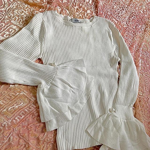Rirandture(リランドチュール)のリブニット白 レディースのトップス(ニット/セーター)の商品写真