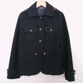 イエナ(IENA)の美品 ウールジャケット風コート 日本製 ブラック ベイクルーズ アウター(ピーコート)