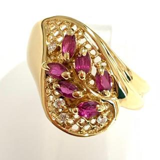 k18yg ルビー  ダイヤモンド リング 指輪 18金 イエローゴールド(リング(指輪))