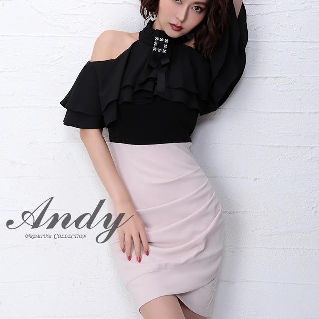 Andy(アンディ)のAndy ミニドレス ブラック×ベージュ Mサイズ レディースのフォーマル/ドレス(ミニドレス)の商品写真