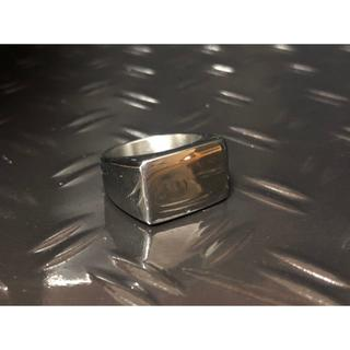 長方形 印台 指輪 シンプル ブラック バカ売れ リング メンズ(リング(指輪))