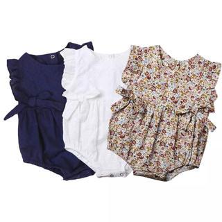 NEXT - フラワーベビーロンパース 花柄 フリルリボン 春夏