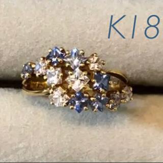 K18マルチカラーサファイヤ指輪 ヴィンテージリング #11〜12(リング(指輪))