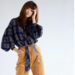 BEAUTY&YOUTH UNITED ARROWS - ☆値下中☆【COEL】ボリュームスリーブチェックボウタイシャツ ブルー