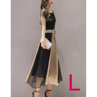 ♡新品♡バイカラー Aライン ベルト付きロングドレス レース ブラウン(L)(ロングドレス)