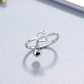 silver925・鈴付き猫チェーンオープンリング(リング(指輪))