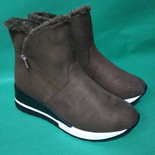 あったかボア 厚底 スニーカー ブーツ ブラック ブラウン Mサイズ ブラウン(ブーツ)