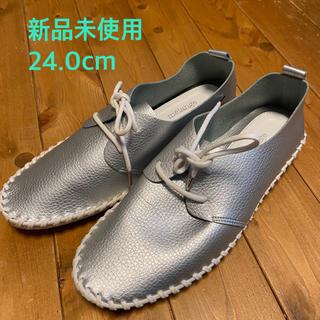 新品未使用 シルバー合皮靴(ローファー/革靴)
