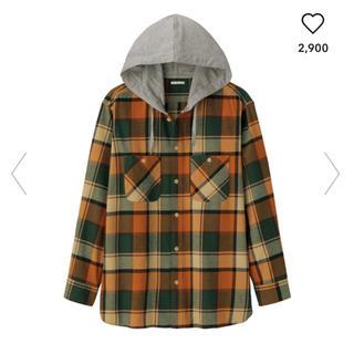 GU - フランネルチェックシャツパーカ(長袖)オレンジ XLサイズ