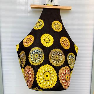 ダークブラウン アフリカ布 しずくバッグ マザーズバッグ バオバブ神戸(ショルダーバッグ)
