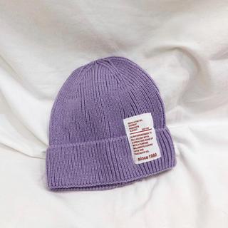 【即納】ベビー キッズ ニット帽 帽子 パープル 紫(帽子)