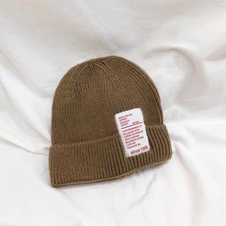 【即納】ベビー キッズ ニット帽 帽子 ブラウン(帽子)