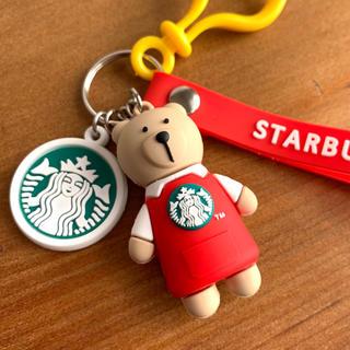 スターバックスコーヒー(Starbucks Coffee)のスターバックス ベアリスタ☆キーホルダー ストラップ・レッド(キーホルダー)