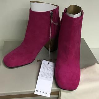 マルニ(Marni)の新品 マルニMARNIショートブーツ 37  ピンク色(ブーツ)