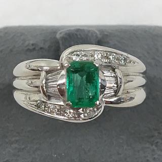 上質 エメラルド 0.50ct ダイヤモンド プラチナ リング 指輪 送料込み(リング(指輪))