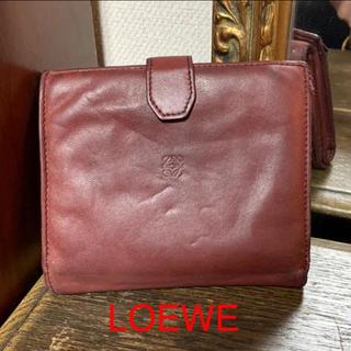 ロエベ(LOEWE)のLOEWE vintage  ラムスキン 折り財布 アナグラム ボルドーレッド(財布)