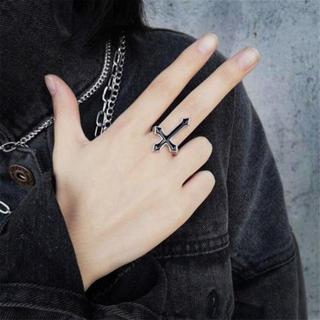 新品☆黒十字架クロスリング/指輪/パンク/V系/ゴシック(リング(指輪))