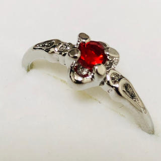 K18WG 赤い石のリング(リング(指輪))