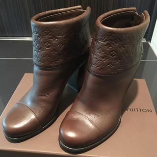 LOUIS VUITTON - ルイ ヴィトン 茶ブラウンショートブーツ 36 23.0cmブーティーレア超美品