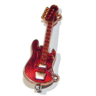 送料無料 エレキギター ベース ブローチ ピンバッジ 赤色 ワインレッド(アコースティックベース)