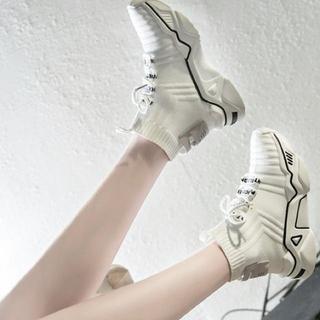 韓国ファッション◎美品!売れ筋レトロ切り替えしカジュアル厚底スニーカー(スニーカー)