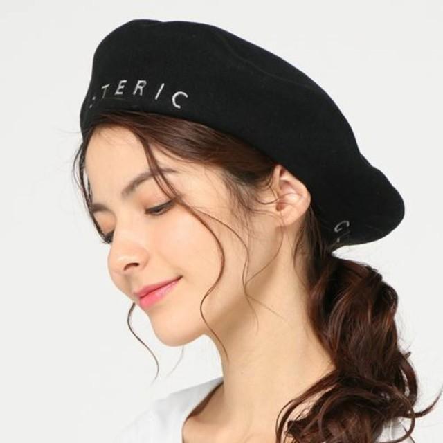 HYSTERIC GLAMOUR(ヒステリックグラマー)のヒステリックグラマー ロゴ 刺繍 ベレー帽 ブラック 試着のみ レディースの帽子(ハンチング/ベレー帽)の商品写真