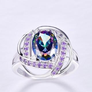 ファッションリングカクテルオーバルカット多色キュービックジルコニアリング(リング(指輪))