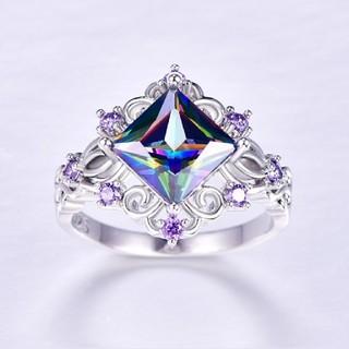 プリンセスカット虹 & ブルー & ホワイト & パープルシルバー925リング(リング(指輪))