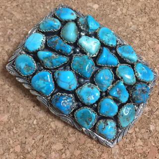 Indian - 限定 激レア ターコイズ トルコ石 天然石 シルバー925  バックル ベルト