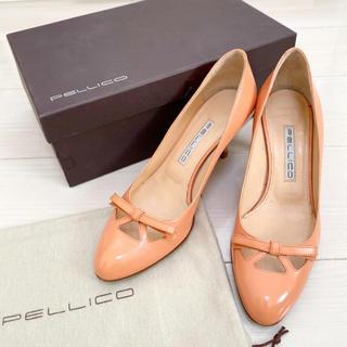 ペリーコ(PELLICO)のペリーコ  22.5 本革 イタリア製 ピンク リボン パンプス(ハイヒール/パンプス)