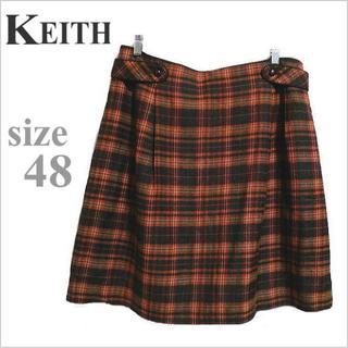 キース(KEITH)のKEITH◆茶オレンジ系チェック柄膝丈スカート◆キース◆大きいサイズ 48(ひざ丈スカート)