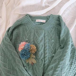 Kastane - 古着 水色 ぽんぽんやわらかニットセーター