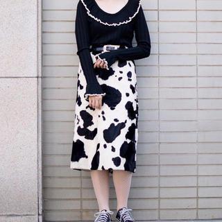 ロキエ(Lochie)の牛柄スカート(ひざ丈スカート)